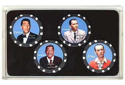 Rat Pack Collector Poker Chips Set Frank Sinatra Dean Martin Sammy Davis Joey B