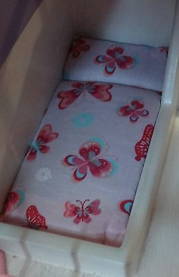 DOLLHOUSE BED MATTRESS LITTLE TIKES PINK WITH BUTTERFLY'S 2ND ITEM SHIPS FREE