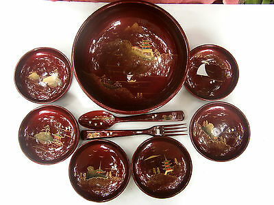 LARGE 27cm  ASIAN  STYLE  SALAD  BOWL, SPOON & FORK  + 6 MATCHING  SMALL BOWLS