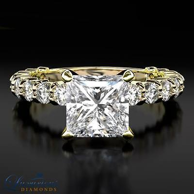 Ladies Engagement Ring Princess Cut Diamond D SI1 Solitaire With Accents
