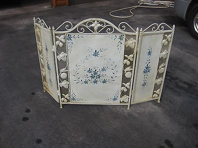Vintage  Iron & Tin  Fireplace Screen with hand painted flowers