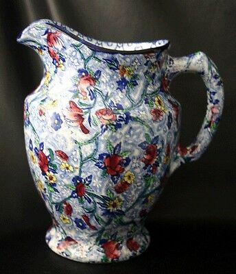 Vintage RINGTONS Maling Ware Blue Floral Chintz Pitcher