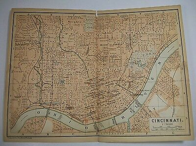 1893 Wagner Debes CINCINNATI OHIO City ANTIQUE MAP Leipzig US Germany COLOR