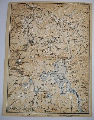 1893 Wagner Debes YELLOWSTONE LAKE Wyoming ANTIQUE MAP Leipzig US Germany COLOR