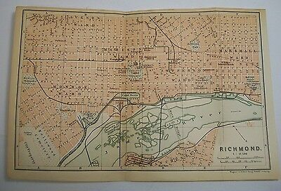 1893 Wagner Debes RICHMOND VIRGINIA JAMES ANTIQUE MAP Leipzig US Germany COLOR