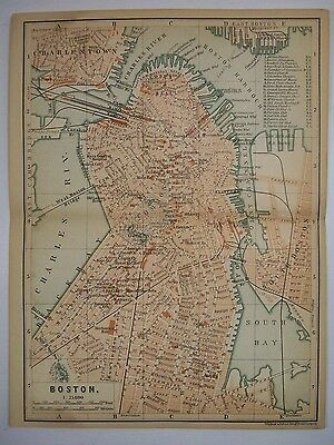 1893 Wagner Debes BOSTON MASSACHUSETTS MA ANTIQUE MAP Leipzig US Germany COLOR