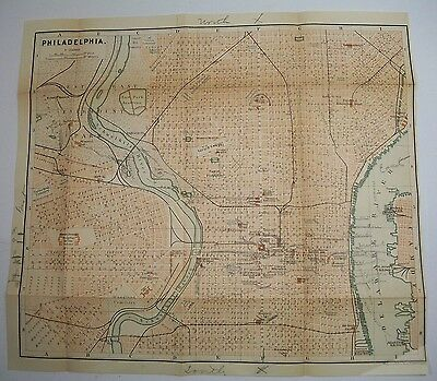 1893 Wagner Debes Philadelphia PENNSYLVANIA ANTIQUE MAP Leipzig US Germany COLOR
