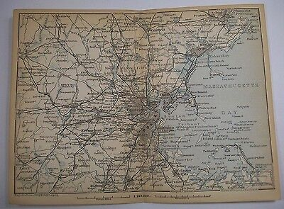 1893 Wagner Debes MASSACHUSETTS BAY BOSTON ANTIQUE MAP Leipzig US Germany COLOR