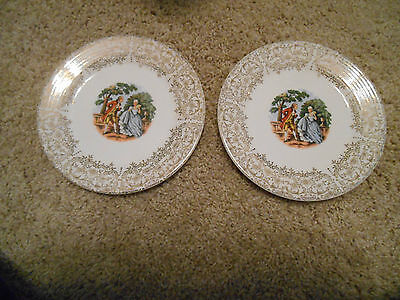 2 The Sebring Pottery Co USA Chantilly 1T-S284 plate Warranted 22K Gold 6.5 inch