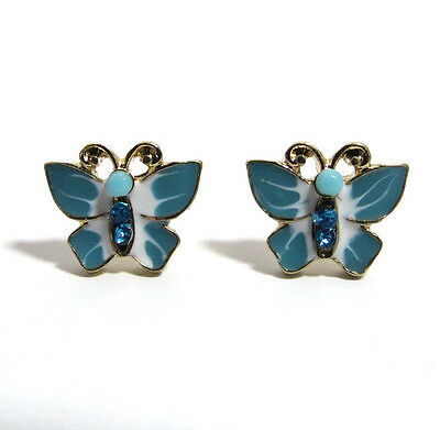 Betsey Johnson Blue Butterfly with Jewels Post Earrings