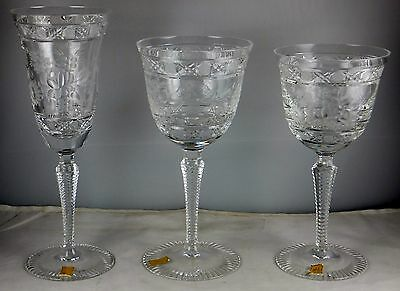 Bleikristall Crystal Echt Meissner Hand Engraved Floral  Wine, Water & Champagne