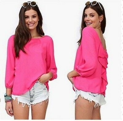 Fashion Women's Chiffon Long Sleeve Shirt Sexy Solid Loose Tops Blouse Size M