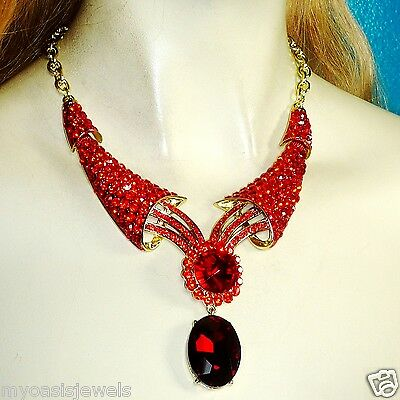 Rhinestone Choker Necklace Earring Set Austrian Crystal Red Pageant Drag Prom