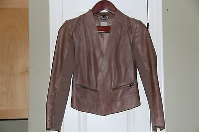 HALOGEN Women's Brown Leather Coat/Jacket, Size S, Gently USED!
