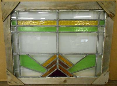 "MID SIZED OLD ENGLISH LEADED STAINED GLASS WINDOW Nice Geometric 21.75"" x 16.25"""