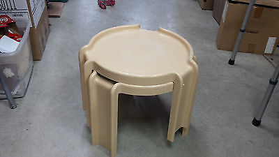 VINTAGE KARTELL / MILANO YELLOW / Gold  Plastic Pair of Stacking  End Tables