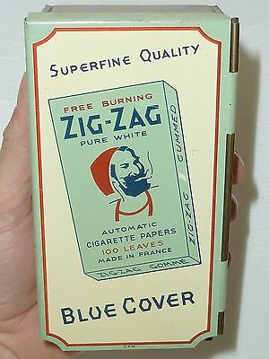"RARE 1940's ZIG-ZAG ""SUPERFINE"" ROLLING PAPERS DISPENSER TOBACCO TIN SIGN CANADA"