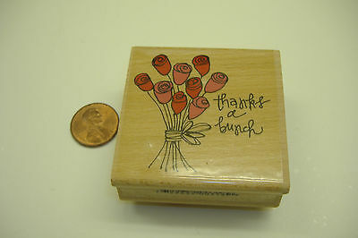 Rubber stamp wood block NEW flower roses thanks a bunch wedding card making