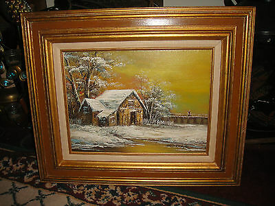 Superb Schiller Signed Oil Painting On Canvas-Barnhouse In Winter-Country Decor