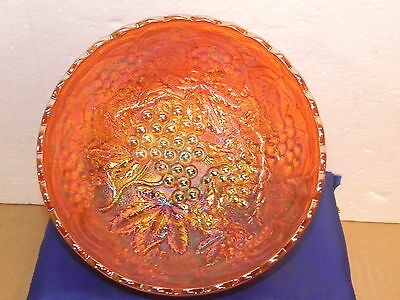IMPERIAL GLASS Marigold Carnival GRAPES Bowl Dish Vintage