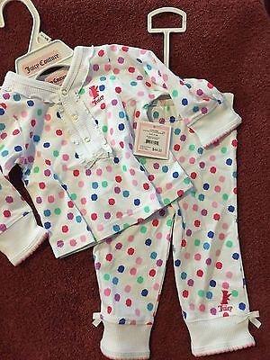 NWT Juicy Couture Baby Girl 2 Piece Loungewear Set ~Polka Dots  3-6M