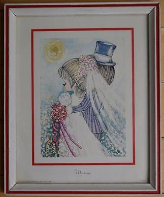 Vintage Big Eyed Lee Marriage Print Framed MCM mid century Litho wedding Reto
