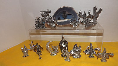 Large Pewter figure Lot:  Fantasy Magic Dragon,Wizard, Castle   Spoontiques