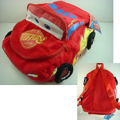 "Disney Pixar Cars Lightning McQueen 13"" Soft Plush Kids Children 3D Backpack Bag"