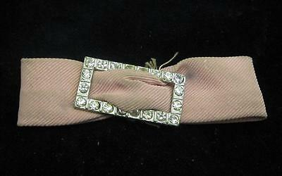 VINTAGE ART DECO CLEAR RHINESTONE RECTANGULAR SLIDE  PINK BOW FINDING*SILVER TN