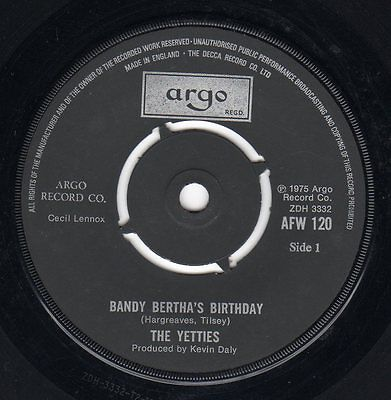 The Yetties Bandy Bertha's Birthday Folk Vinyl single 1975