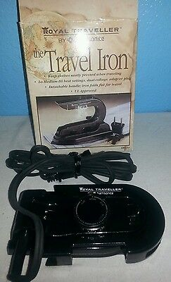ROYAL TRAVELLER TRAVEL IRON BY SAMSONITE RT-14-TESTED-WORKS-NEVER USED IN BOX