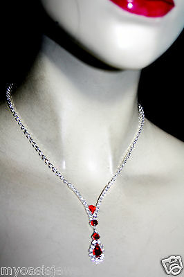 Rhinestone Choker Necklace Earring Set Austrian Crystal Red Prom Pageant Bridal