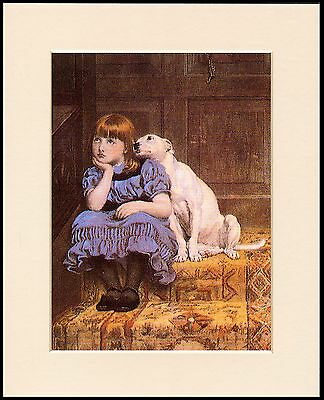Bull Terrier & Child On Stairs Lovely Little Dog Print Mounted Ready To Frame