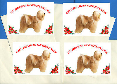 Tibetan Terrier Pack Of 4 Cards Dog Print Greeting Christmas Cards