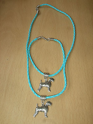 Handmade Airedale Dog Bracelet & Necklace Set with Charm Pale Blue Puppy Terrier