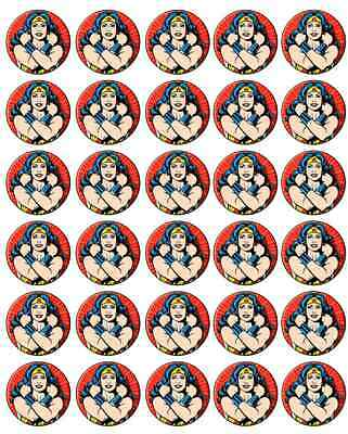 Wonder Woman Edible Cupcake Fairy Cake Toppers Decorations Pre Cut Rice Wafer