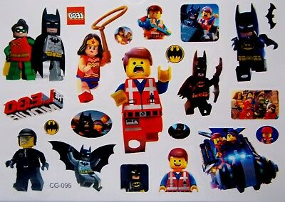 The Lego Movie Batman + Robin Cartoon Temporary Body Tattoo Children's - CG-095