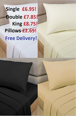 Flat Percale Single Double King Super King Sheets! Top Quality! Best Prices!