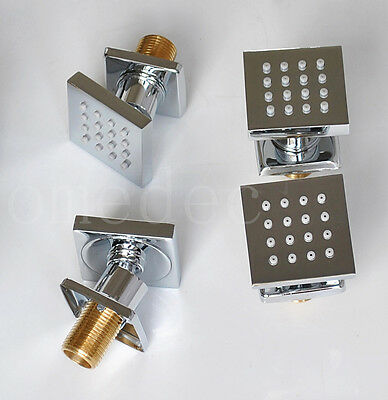 4pieces Square Brass bathroom Shower Body Massage Jets Sprayer Chrome Finishes