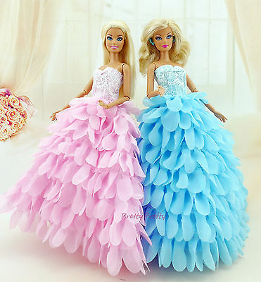 ❤ 2x Blue + Pink Princess Dress Wedding Gown Hat Flower Clothes For Barbie Doll