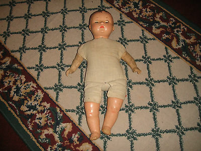 Antique Composition Baby Doll-Stuffed Body-Eyes Open & Close-Unmarked-LQQK