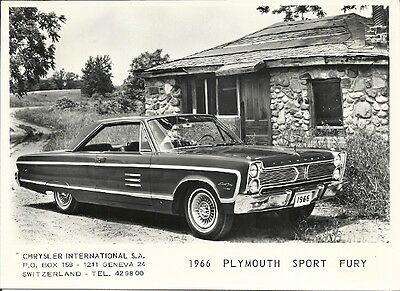 1966 Plymouth Sport Fury Period Press Photograph.