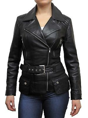 Brandslock Ladies Womens Genuine Leather Jacket Trench Mid Length Designer