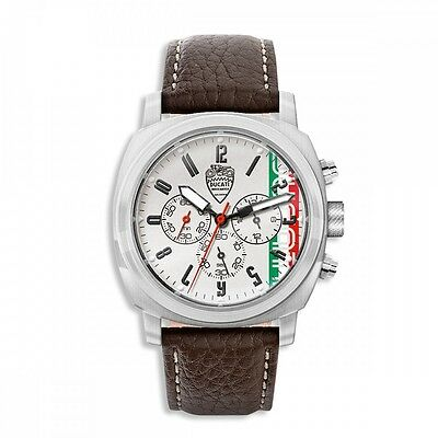Ducati Watch,Genuine Retro Quartz Chronograph, stainless back, leather strap NEW