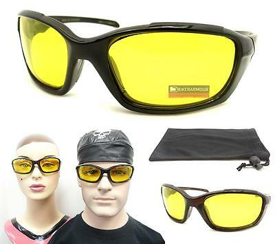 YELLOW Lens Polarized Safety Glasses Biker Night Day Driving Motorcycle Riding