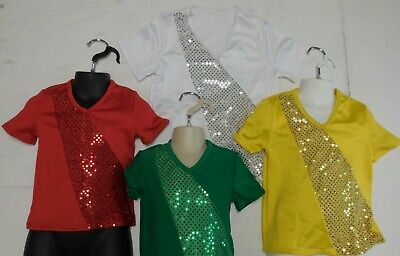 NWT Dance Costume Faux Sequin V-Neck Pullover Shirt 5 Colors Child/Men Szs