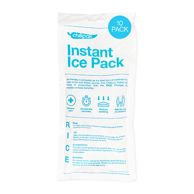 10 x Large KoolPak Instant Ice Packs + Sleeve | Sport Muscle Pain Cold Therapy