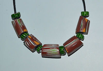11 Venetian african trade beads - glass antique old - chevron necklace