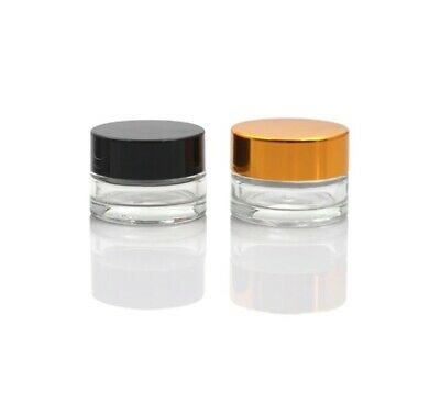 300 x 5g small cosmetic/craft sample glass jar/container pot - gold / black lid