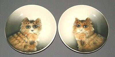 Vintage 1960s 3D Cat Collectors Hanging Display Plates Pair
